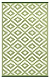 Lightweight Outdoor Reversible Plastic Nirvana Rug (5 X 8, Leaf Green/White)