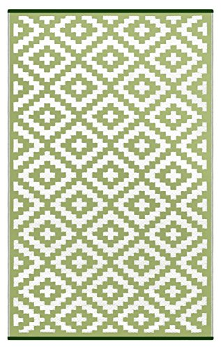 Lightweight Outdoor Reversible Plastic Nirvana Rug (5 X 8, Leaf Green/White) Autumn Leaves Primary
