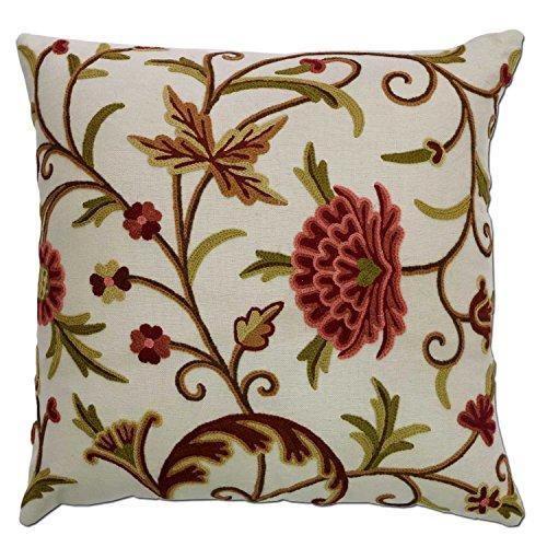 Kashmir Danzdar White Hand Embroidered Wool on Cotton Crewel Pillow NAQASH ()