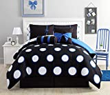 VCNY Home SSE-8CS-TWIN-IN-KU Sophie 8 Piece Comforter Set,Black/Blue, Twin,