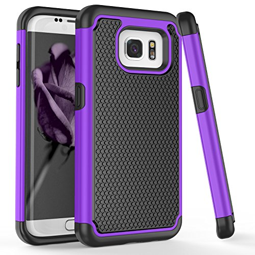 - Galaxy S7 Edge Case, S7+ Case, TILL(TM) [Purple] [Shock Absorption] 2 In 1 Dual Layer Hybrid Armor Defender Rubber & Hard Plastic Protective Grip Cute Case Cover Shell for Samsung Galaxy S7 Edge G935