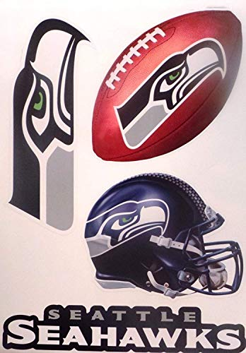 Seattle Seahawks Graphics Set of 4 Team Logo Sign Helmet Official Removable and Re-Usable NFL Vinyl Wall Graphics 16