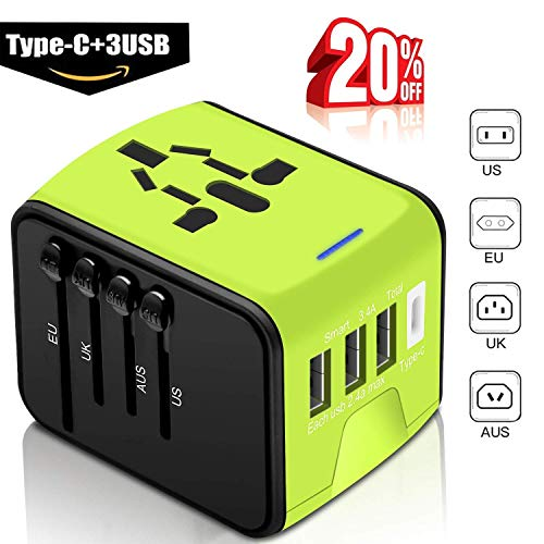 Universal Travel Adapter -Whlzd International Travel Power Adapter W/Smart High Speed 3.4A Type C 4 USB Wall Charge, European Adapter, Worldwide AC Wall Outlet adapter for EU, UK, US, AU, Asia(Green)