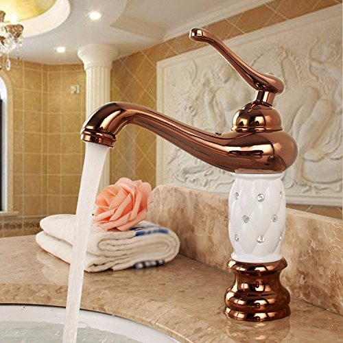 LLPXCC Faucet The toilet bathroom kitchen domestic washing the face wash basins copper continental retro in style and hot and cold gold 2