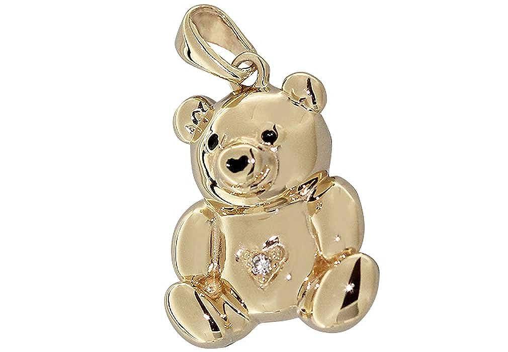 Hobra-Gold Teddybär Anhänger Gold 585 mit Brillant Goldanhänger Teddy 14 Karat
