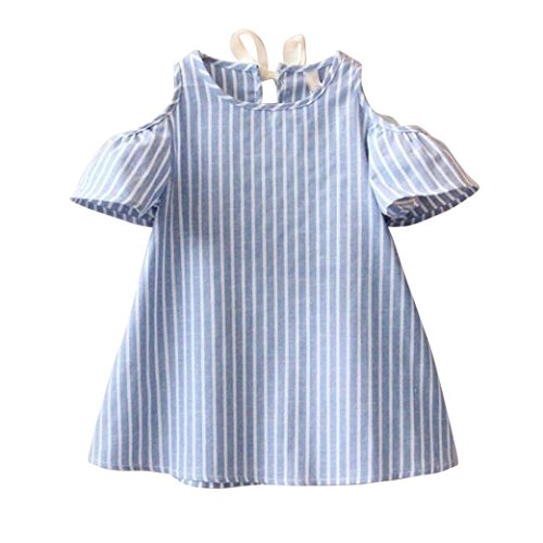 Price comparison product image G-real Kids Little Girls Fashion Cold Shoulder Striped Princess Party Dress Casual A Line Sundress (Blue, 5/6T)