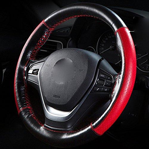 XuanMax DIY Funda para Volante Coche Cosida Universal 38cm Cuero Genuino Coser a Mano Respirable Cubierta del Volante Envoltura Protectora Antideslizante Cubre Volante Piel Negro+Rojo