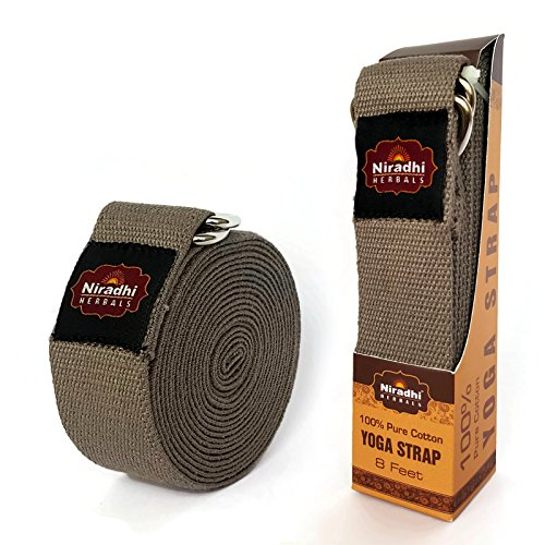 Niradhi Herbals Yoga Strap with D-Ring - 6ft/8ft/10ft - 7 Colors - Premium Quality Soft & Durable Cotton with Niradhi Happiness Protection (Grey, 8 ft)