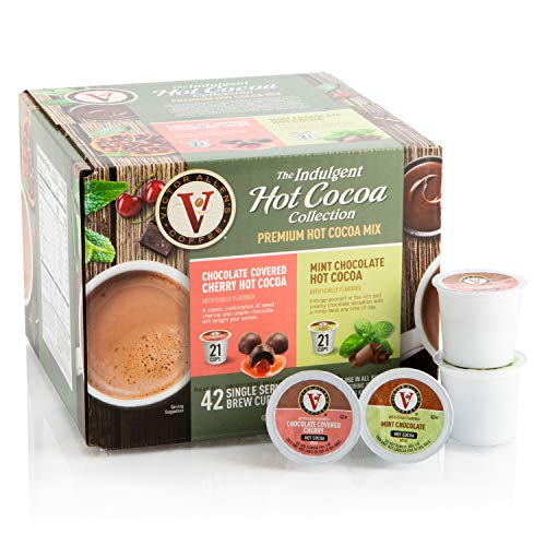 Cocoa Covered - Hot Cocoa Variety Pack with Chocolate Covered Cherry & Mint Chocolate for K-Cup Keurig 2.0 Brewers, 42 Count, Victor Allen's Coffee Single Serve Coffee Pods