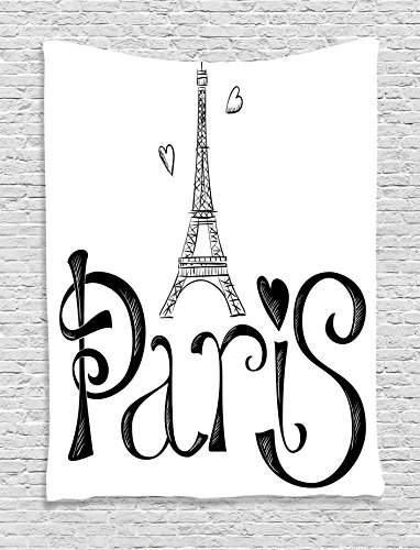 Ambesonne Paris City Decor Collection, Eiffel Tower France Heart Shapes Silhouette Decorative Vacation Art Design, Bedroom Living Room Dorm Wall Hanging Tapestry, Black and White