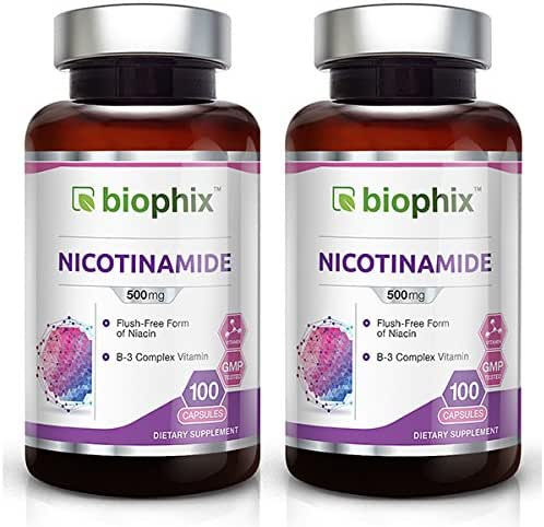 B-3 Nicotinamide 500 mg 100 Caps 2-Pack - Natural Flush-Free Vitamin Formula | Gluten-Free Nicotinic Amide Niacin | Supports Skin Health | Healthy Cell Repair Support
