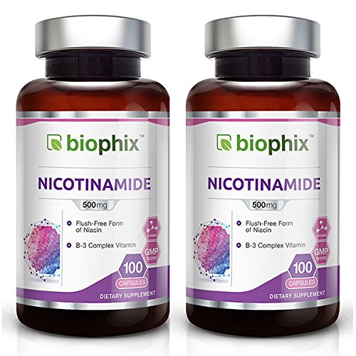 B-3 Nicotinamide 500 mg 100 Caps 2-Pack - Natural Flush-Free Vitamin Formula | Gluten-Free Nicotinic Amide Niacin | Supports Skin Health | Healthy Cell Repair Support (Best Diet For Acne Sufferers)