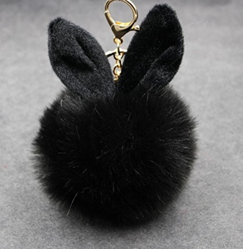- 1 Pc Mini Pocket Rabbit Ear Fur Ball Keychain Keyring Keyfob Fluffy Pompom Keys Chains Rings Tags Strap Wrist Ideal Popular Cute Wristlet Utility Keyrings Tool Teen Women Girls Gift, Type-04