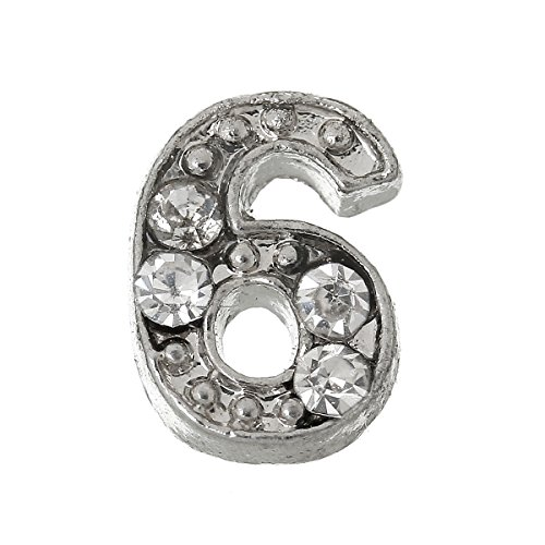 10pcs Floating Charms for Living Locket Number 6 Rhinestone 7x4mm