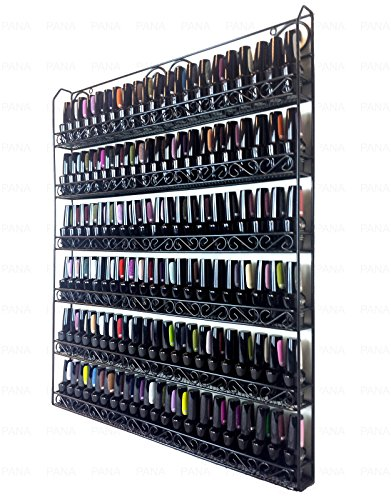Pana Black 6 Tier Large Wall Mounted Metal Rack - Fit up to 100 Nail Polish Bottles - For Home Salon Business Spa etc. (Best Place To Store Nail Polish)