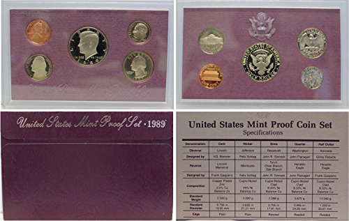 1989 S US Proof Set Superb Gem Uncirculated - Gold Half Eagle