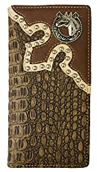 Horse Men Wallet Western Bifold Check Book Style W039-15 Crocodile Brown