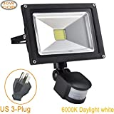 W-LITE 30W Led Motion Sensor Flood Lights Outdoor, PIR Induction Lamp, Intelligent Light, 6000K, Cool White, 240W Bulb Equivalent, 2400lm, Super Bright Waterproof Security Floodlight