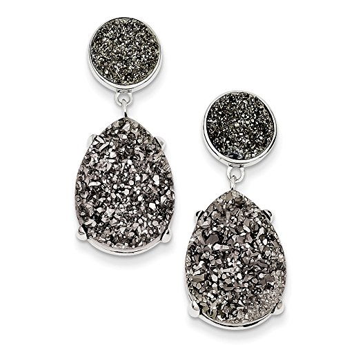 Sterling Silver and Gray Druzy Post Earrings by CoutureJewelers