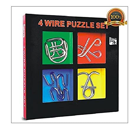 AsmallFish 4 Wire Metal Brain Teaser Puzzle Set