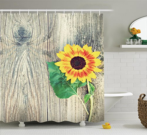 Sunflower Decor Shower Curtain Set, Sunflower on Wooden Old Board Bouqet Floral Gifts of Mother Earth Artsy Photo, Bathroom Accessories, 75 Inches Long, Brown Green Yellow