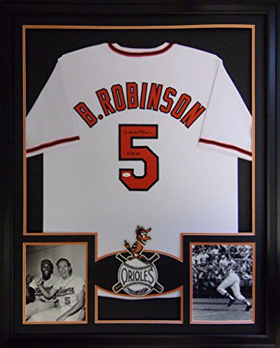 Brooks Robinson Baltimore Orioles Autograph Signed Custom Framed Jersey 2 Pic JSA Witnessed Certified