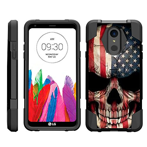 - TurtleArmor | Compatible for LG Stylo 4 Case | Q Stylus Case | Stylo 4 Plus Case [Dynamic Shell] Hybrid Dual Layer Hard Shell Kickstand Silicone Case - US Flag Skull