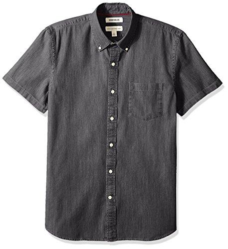 (Goodthreads Men's Standard-Fit Short-Sleeve Denim Shirt, Washed Black, XX-Large)