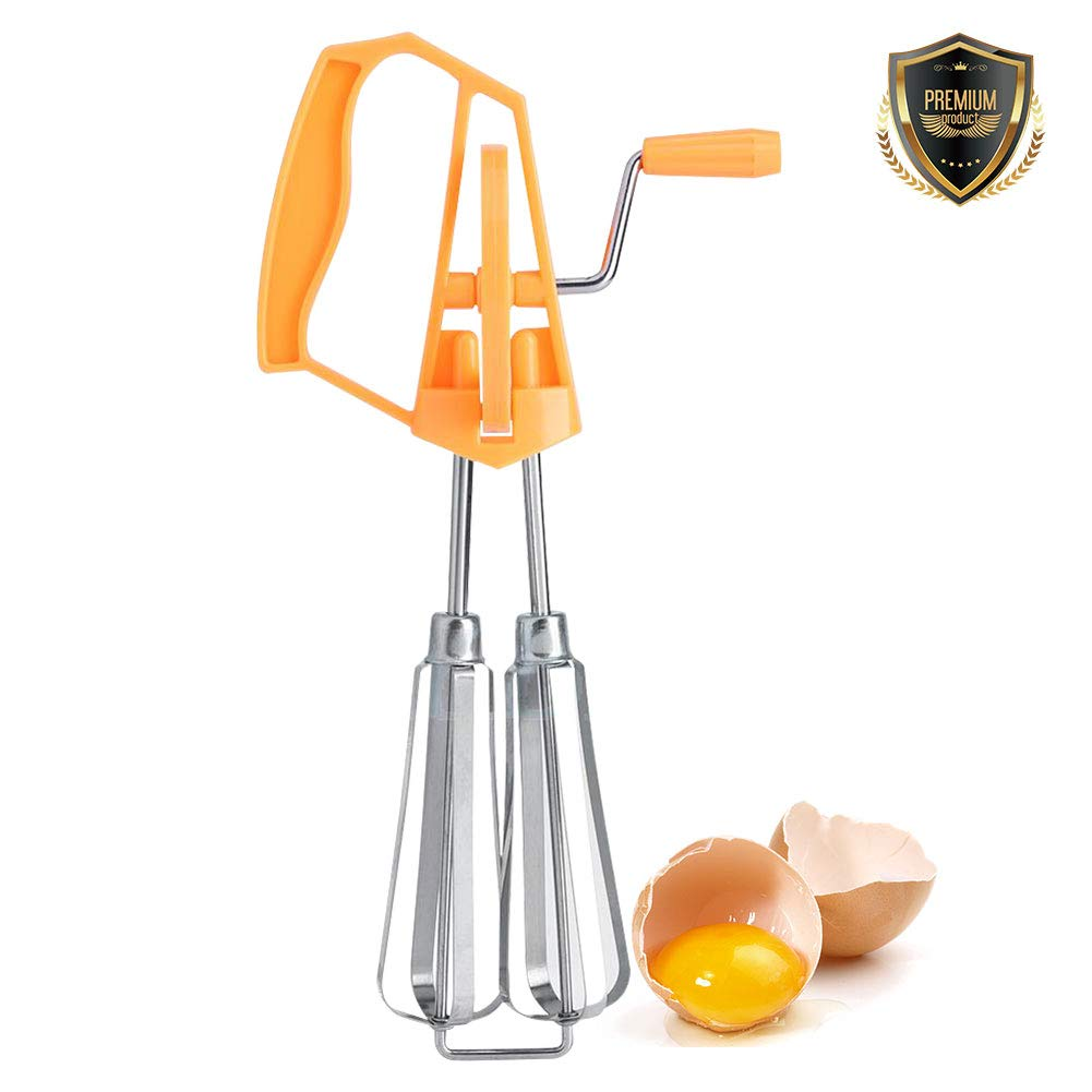 Stainless Steel Manual Whisk Egg Beater Rotary Handheld Egg Frother Mixer Cooking Tool Kitchen(Orange)
