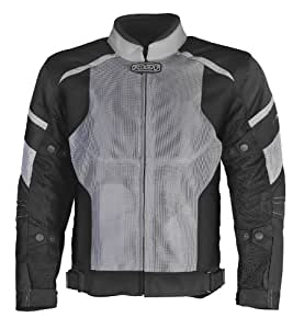 Pilot Men's Direct Air Mesh Motorcycle Jacket (Silver/Black, XX-Large)