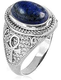 Sterling Silver Egyptian Ankh Cross Lapiz Lazuli Gemstone Ring