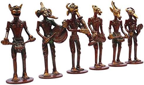 セットの6個装飾真鍮メタルMusical FigurineアンティークDevil 's Statue