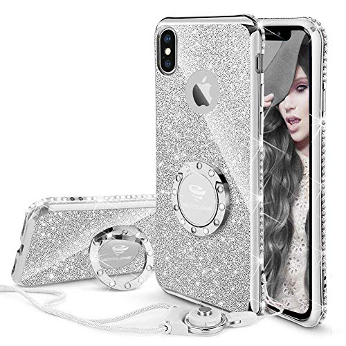 (OCYCLONE iPhone X/XS Case Cute, Glitter Bling Girly Diamond Rhinestone Bumper with Ring Kickstand Stand Protective Phone Case for iPhone X/iPhone Xs for Women Girls Teens - Silver)
