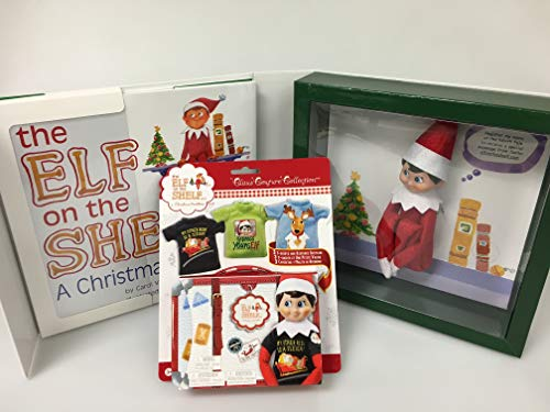 Elf on The Shelf Blue Eyed Boy with Official 3pc T-Shirt Outfit Collection - Direct from North Pole in Limited Edition Santa Gift Box