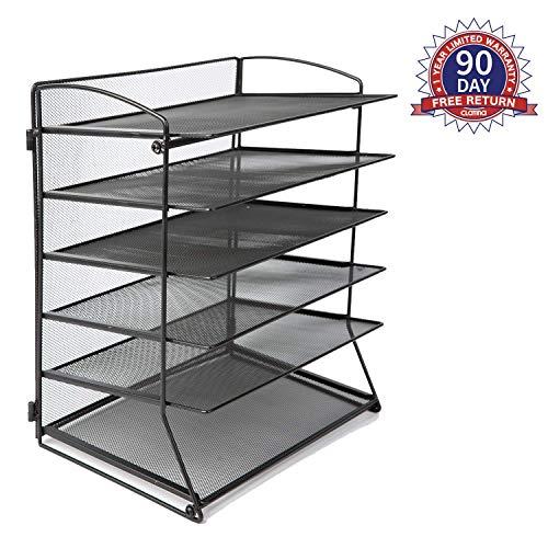 6 Metal Mesh Desktop File Organizer Desk Letter Tray for Office or Home, - 5 Desktop Compartments Organizer