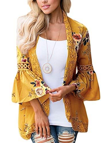 Women's Floral Print Short Sleeve Shawl Chiffon Kimono Cardigan Casual Blouse Tops(Yellow L)