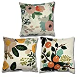 Dromomania Life Natural Style Pillow Covers Pastoral Feeling Throw Pillows Covers Plant Pattern 18X18 Inch (Rural C)