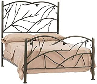 product image for Stone County Ironworks Iron Bed with Twig Designs, King Black