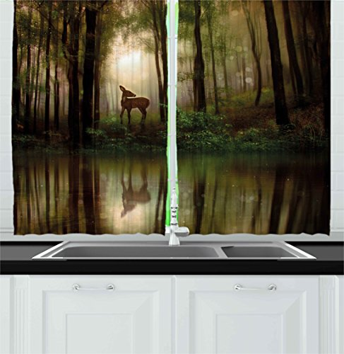 Ambesonne Nature Kitchen Curtains, Baby Deer in The Forest with Reflection on Lake Foggy Woodland Graphic, Window Drapes 2 Panels Set for Kitchen Cafe, 55 W X 39 L inches, Fern Green Cocoa Brown ()
