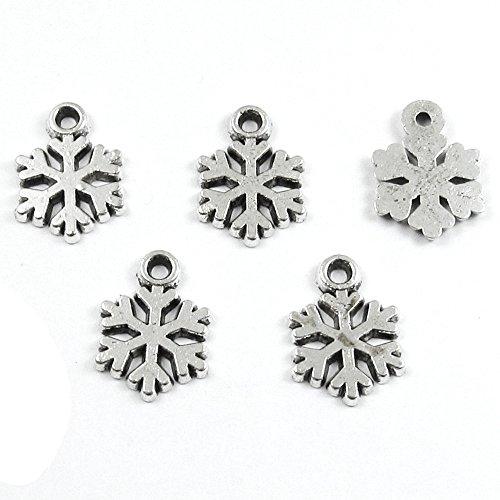 Silver Metal Holiday Charms - CHRISTMAS MINI SNOWFLAKE 10x14mm (50 ()