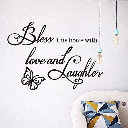 CUGBO Bless This Home with Love and Laughter Quote Wall Decals with with Butterfly DIY Removable Wall Stickers¡