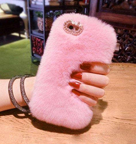 Losin Samsung Galaxy Note 9 Case Fashion Luxury Diamond Bowknot Cute Fuzzy Furry Winter Rabbit Hair Warm Plush Fluffy Fur Soft TPU Back case ()
