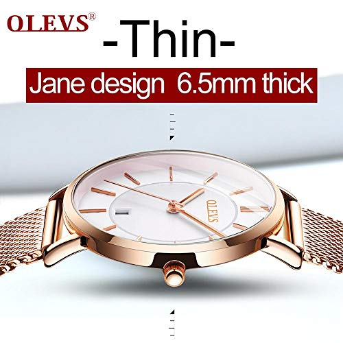 6.5mm Ultra Thin Watches for Women Waterproof,Rose Gold Stainless Steel Ladies Watch,Casual Women Watches with Date,Big Face Female Wristwatches,Japanese Quartz Lady Watches,Gifts for Women