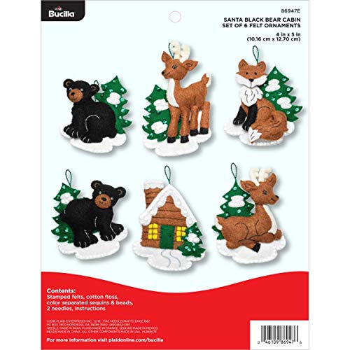 Bucilla 86947E Felt Applique 6 Piece Ornament Kit, 4
