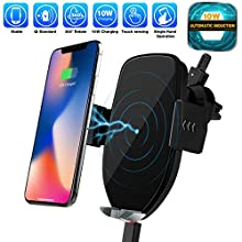 Auto-Clamping Wireless Car Charger, 10W 7.5W Fast Qi Wireless Air Vent Phone Mount, Compatible with iPhone 11/11pro/11pro MAX/Xs MAX/XS/XR/X/8/8p, Samsung S10/S10+/S9/S9+/S8/S8+ and More