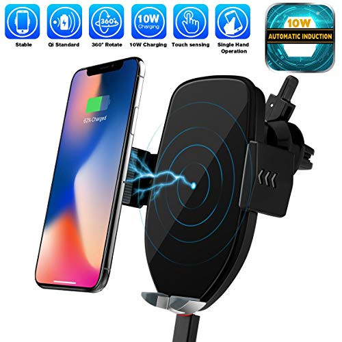 Mix Hero Wireless Car Charger Mount, Automatic Clamping Qi 10W 7.5W Fast Charging 5W Car Mount, Windshield Dashboard Air Vent Phone Holder Compatible with iPhone Xs Max XR 8, Samsung S10 S9 S8 Note 9