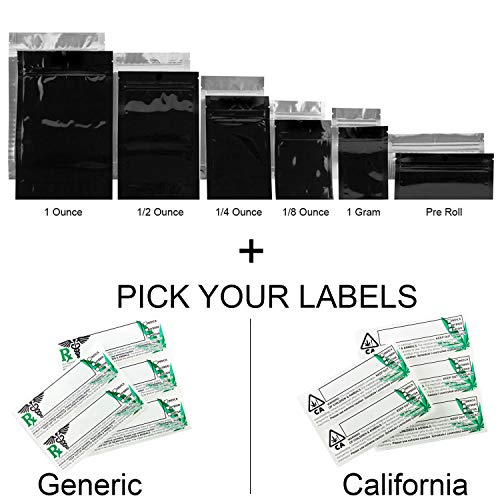 (100 Black Smell Proof Mylar Bags w/Rx Strain Labels Stickers - (1 Gram Bags, Generic Labels))