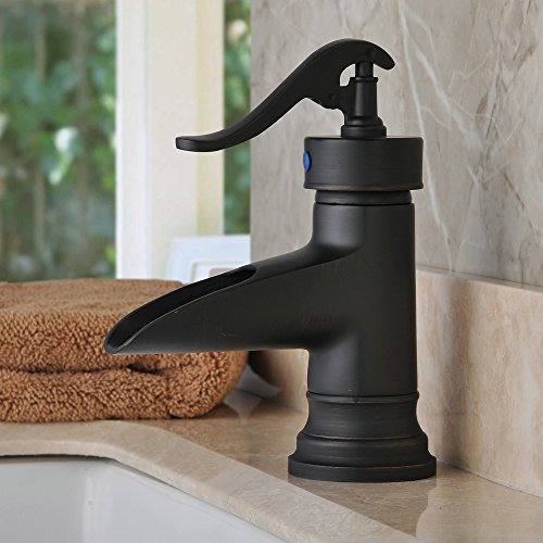 Hiendure® Waterfall Spout Oil Rubbed Bronze Bathroom Sink Faucet ...