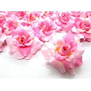 "(24) Silk Two-tone Light Pink Roses Flower Head - 1.75"" - Artificial Flowers Heads Fabric Floral Supplies Wholesale Lot for Wedding Flowers Accessories Make Bridal Hair Clips Headbands Dress 106"
