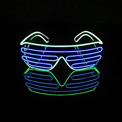 ed38a5c97a LERWAY Black Frame Neon El Wire LED Light Up Shutter Glasses Two Colors+  Standard Controller (Blue + Light Green) - - Amazon.com